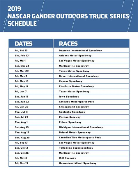 truck schedule nascar xfinity truck series 2019 schedules auto racing