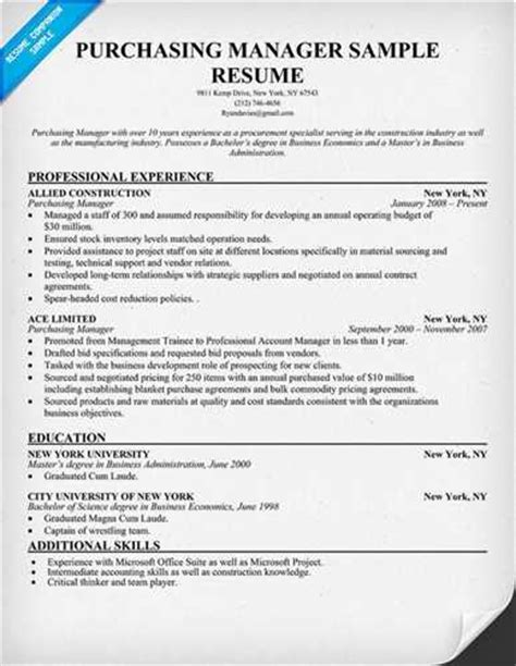 procurement format cv templates procurement manager resume