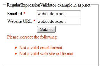 email format validation in asp net dotnet library regularexpressionvalidator validation