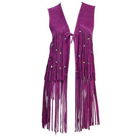 beaded vest 1960s beaded violet suede leather fringed vest at 1stdibs