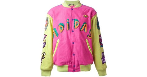 Bomber Adidas Pink adidas embroidered bomber jacket in pink for lyst