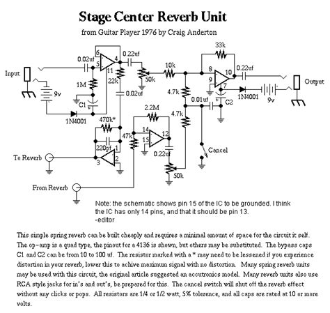 stage center reverb schematic music related electronic circuit diagrams circuit