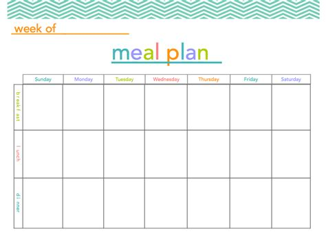 search results for meal planning template free