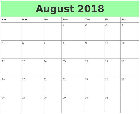printable calendar 2018 august april 2018 monthly calendar