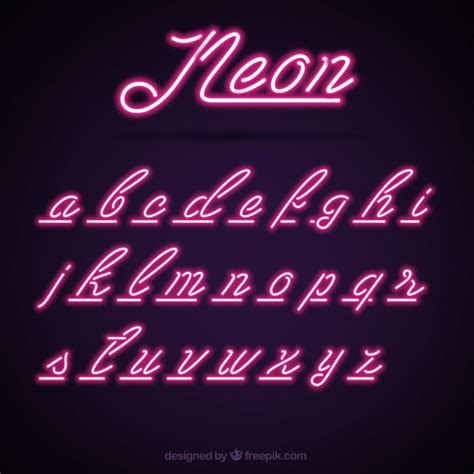 neon light letters font purple neon alphabet vector free
