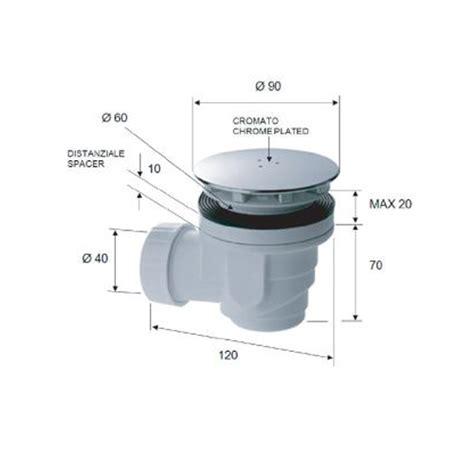 piletta per piatto doccia sifone piletta di scarico diametro foro 60 e 90 mm piastra