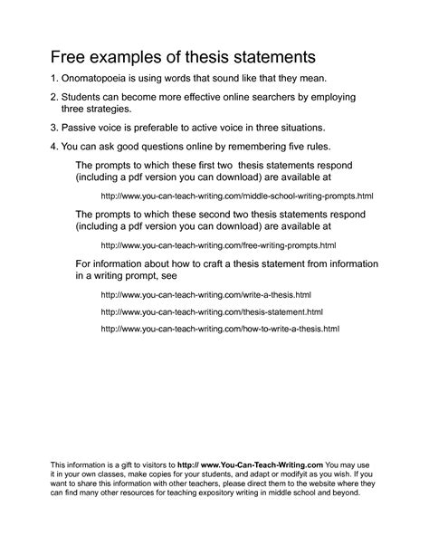 Exle Of A Thesis Statement For An Essay by Exles Of Thesis Statements