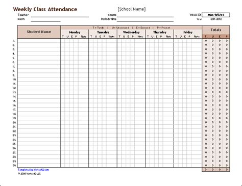weekly attendance register template a free weekly student attendance tracking record and a monthly class attendance form