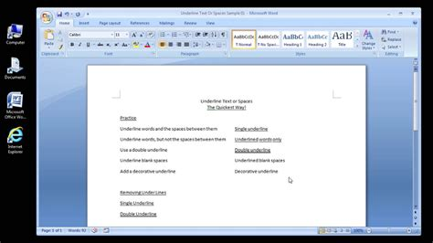 how to use spaces microsoft word 2007 underline text or spaces