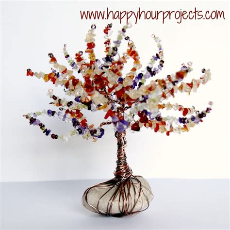 how to make a beaded wire tree wire wrapped tree happy hour projects