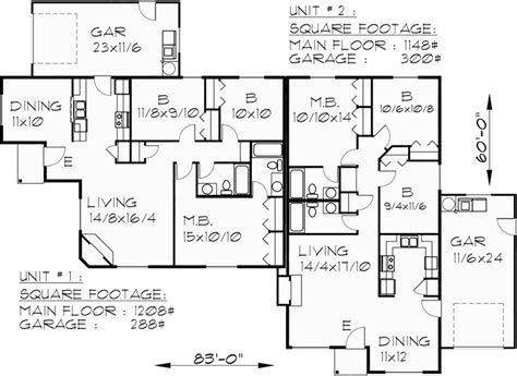 Corner Lot Duplex Plans by One Level Duplex House Plan Corner Lot Duplex House Plans