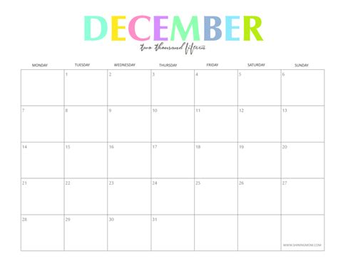 printable online calendar december 2015 the colorful 2015 monthly calendars by shiningmom com are