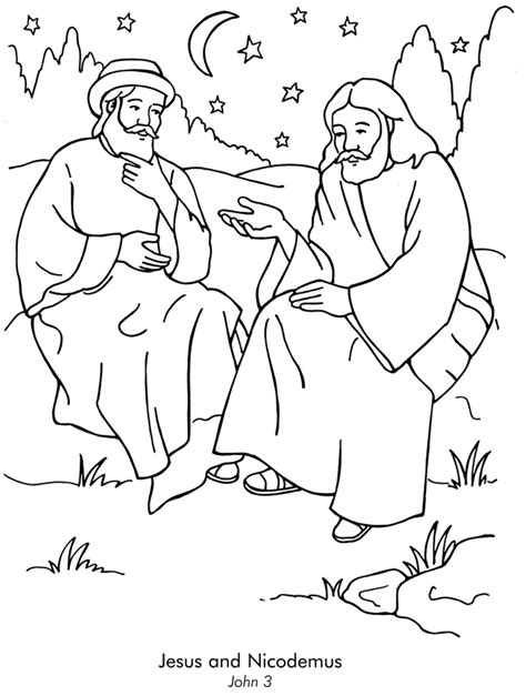 coloring page jesus and nicodemus jesus loves everyone coloring page