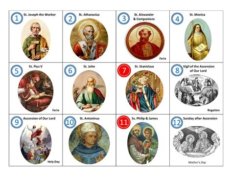 Calendã Stj Memories Of A Catholic Saints For May Calendar