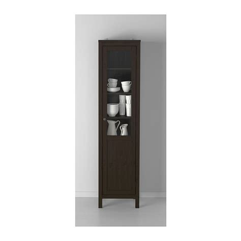 ikea solid wood cabinets hemnes cabinet with panel glass door black brown 49x197 cm