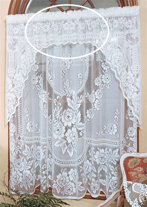 rose lace curtains victorian rose insert valance heritage lace heritage