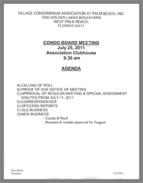 notice of board meeting golden lakes village 9 30 am