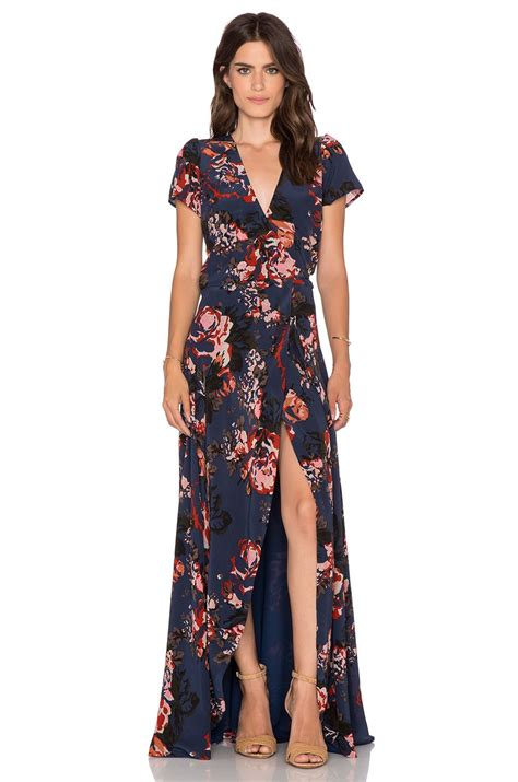 Dress Quin Navy helena quinn maxi wrap dress in navy print