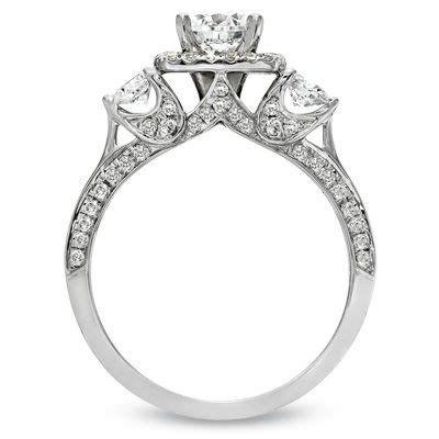 1 1 2 ct t w diamond three stone engagement ring in 14k
