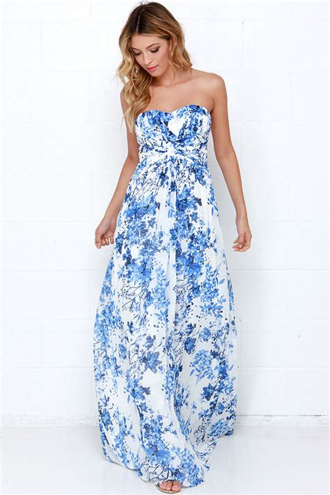 Maxi Dress Brand Dyabelle Blue Flowers beautiful blue and ivory maxi dress floral print dress