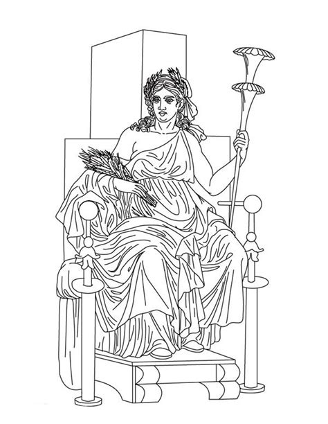 demeter from greek gods and goddesses coloring page netart