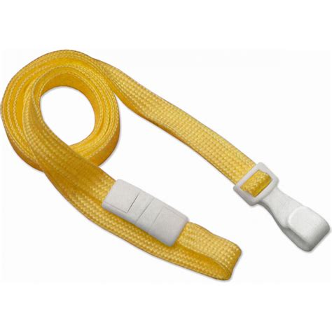 flat braid breakaway lanyard  wide plastic hook yellow