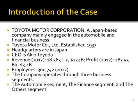 Strategic Management Of Toyota Company Strategic Management Study Toyota