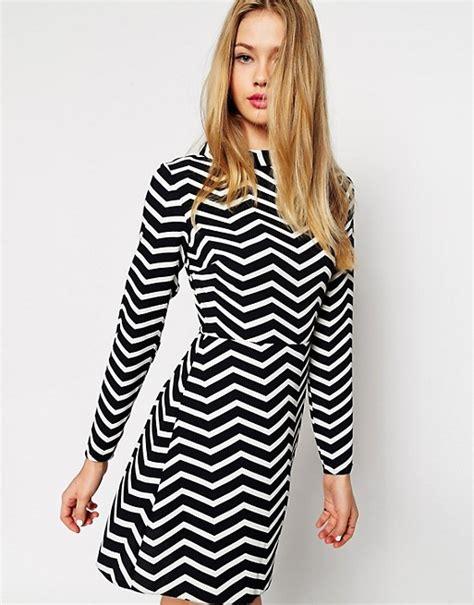Ll Mono Line Dress asos asos a line dress with funnel neck in monochrome zig zag print