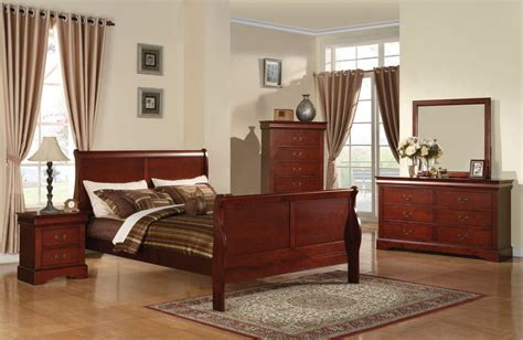 louis phillipe bedroom set acme louis phillipe iii sleigh bedroom set in cherry
