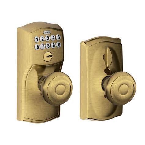 Schlage Camelot Antique Brass Keypad Entry With Flex Lock Interior Keypad Door Lock