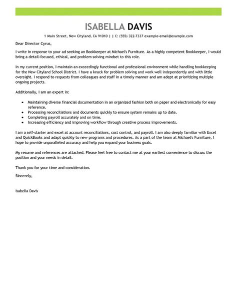 cover letter template accounting best bookkeeper cover letter exles livecareer