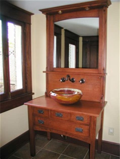 Arts And Crafts Bathroom Vanity Arts And Crafts Syle Vanity With Onyx Bowl Custom Made By Rj Woodworking