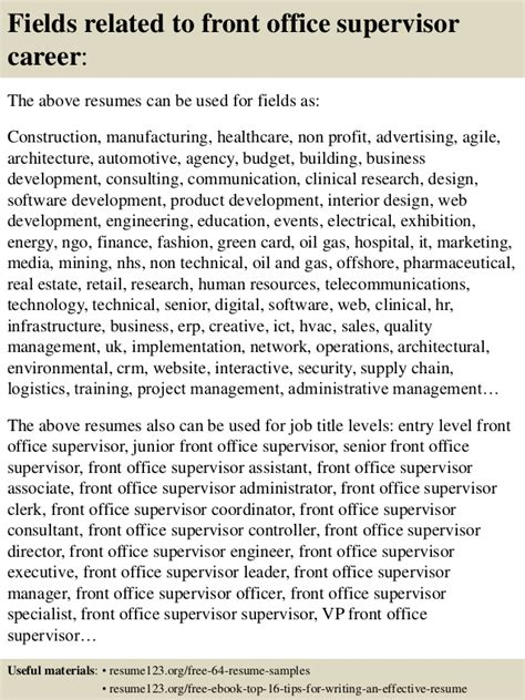 front office supervisor resume sles top 8 front office supervisor resume sles