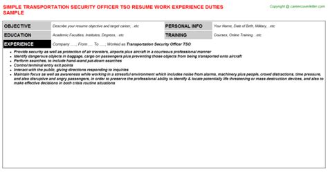 Tso Security Officer Cover Letter by Transportation Security Officer Tso Resume Sle