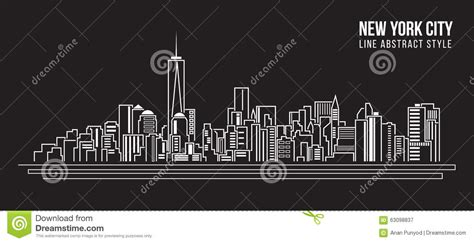 design art new york cityscape building line art vector illustration design