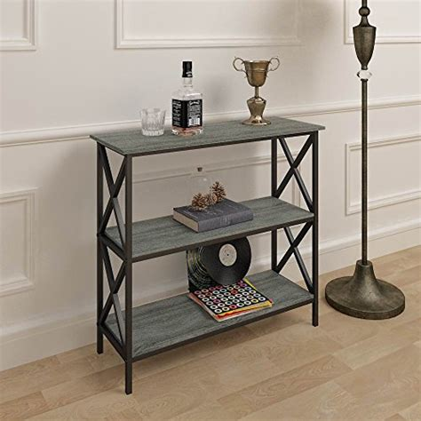 console sofa table bookshelf weathered grey oak finish 3 tier metal x design bookcase