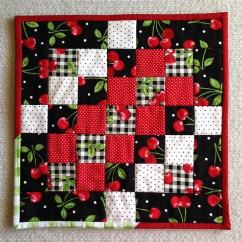 Patchwork Mug Rugs - cherry mug rug mini patchwork quilt black white with