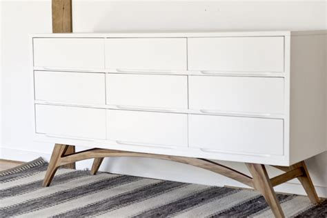 adding legs to malm dresser before and after adding diy legs gives this mid century