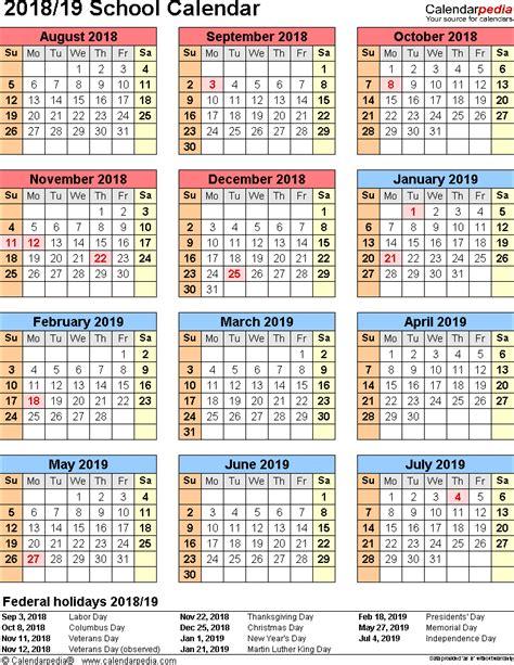Calendar 2018 School Holidays School Calendars 2018 2019 As Free Printable Pdf Templates