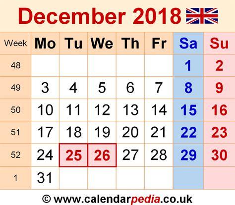 United Kingdom Uk Kalender 2018 Calendar December 2018 Uk Bank Holidays Excel Pdf Word