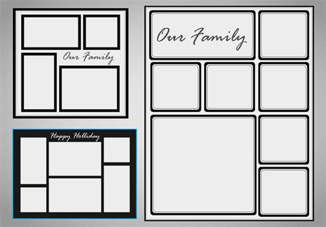 photo collage template vector set free vector