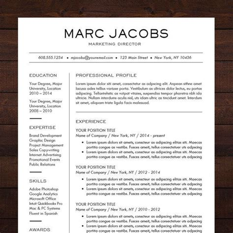 Professional Resume Design Templates by Beautiful And Sleek Resume Template Cv Template For Ms