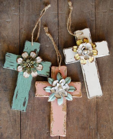 Handmade Crosses - diy wooden crosses gift with handmade flowers