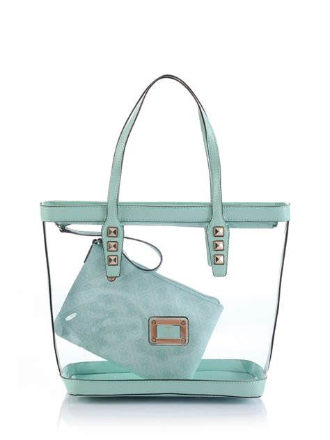 guess logo remix clear plastic tote bag in green mint lyst