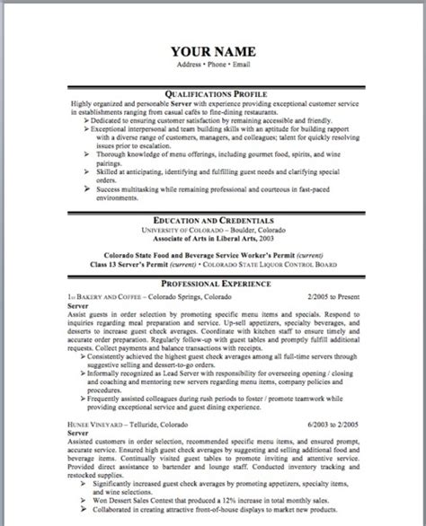 Resume Templates Server Restaurant Server Resume Exle