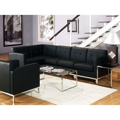black faux leather corner sofa avenue six wall street 5 piece sectional corner sofa