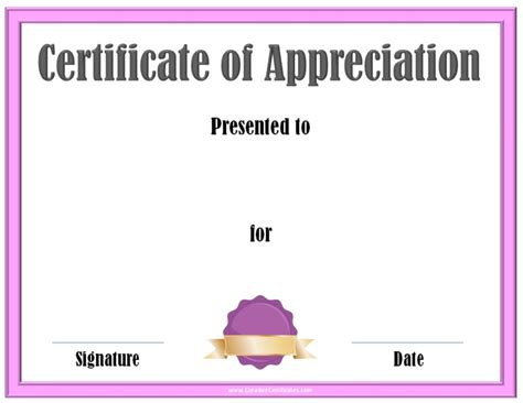 templates for certificates of appreciation certificate templates