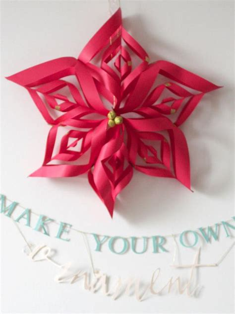 how to make paper christmas decorations at home make a paper snowflake star christmas ornament hgtv