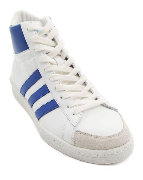 adidas leather sneakers adidas abdul jabbar og white leather sneakers in white for
