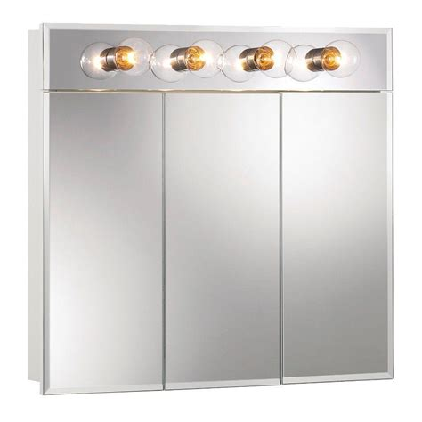 bathroom mirror medicine cabinet with lights jensen ashland 30 in x 28 in x 4 3 4 in 4 light surface